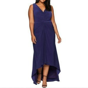Adrianna Papell Draped High Low V-Neck Ruched Gown